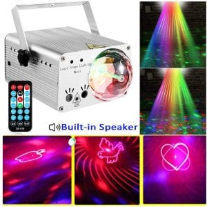 LED Stage Lights RGB Mixed Effects Laser Magic Ball Sound Activated Remote Control 36 Patterns Projector Stage Lighting with Built-in Audio USB Bluetooth