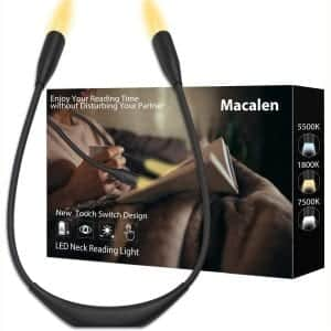 Macalen LED Book Light, Amber Neck Book Light,Book Lights for Reading in Bed, Rechargeable Reading Lamp, Eye Protection 3 Adjustable Brightness Reading Light
