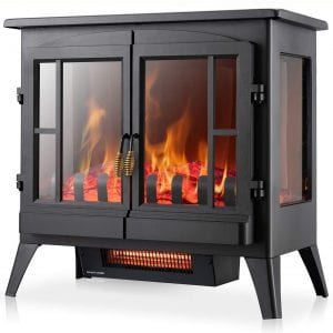 Xbeauty Electric Fireplace Stove, Freestanding Fireplace Heater with Realistic Flame, Indoor Electric Stove Heater, Portable, Infrared, Thermostat, Overheating Safety System