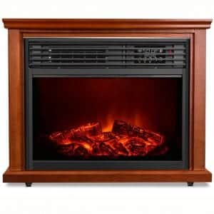 Electric Fireplace Heater with Remote - 1500W Infrared Heater with 3D Flames Effect, 800 Sq Ft Coverage, Space Heater with Thermostat, Fast Heating, No Noise
