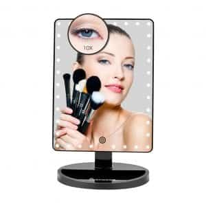 FUNTOUCH Large Lighted Makeup Mirror with 35 LED Lights (Black)