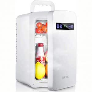 OMORC Mini Fridge, 10 Liters Mini Cooler and Warmer Car Refrigerator with LED Display:Dual-Core System:ECO and Super Quiet, Personal Tiny Fridge
