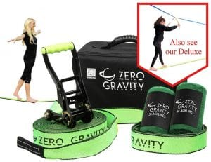 Zero Gravity Slacklines Slackline Kit with Industry Leading Carry:Storage Bag, Upgraded Ratchet w:Molded Finger Grip & Smooth Operation + Tree Protectors; Great Set