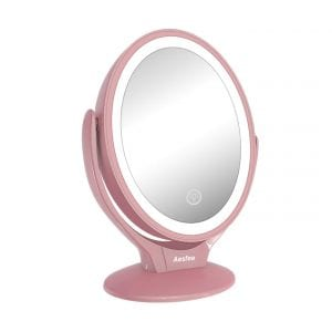 Aesfee LED-Lighted and Rechargeable Makeup Mirror – Rose Gold