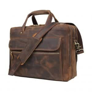 Augus Store Leather Briefcase for Men Business Traveling Massager