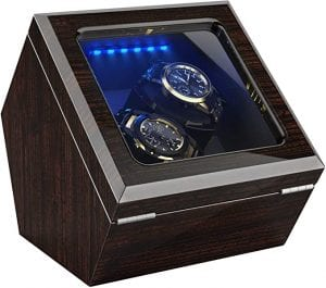New Designed Watch Winder for 10 Automatic Watches,Built-in LED Illumination,Wood Shell Piano Paint Exterior and Extremely Silent Motor, with Soft Flexible Watch Pillow
