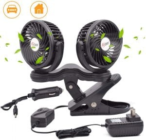 TN TONNY Dual Head Clip Fan, 4 Inches Electric Car Clip Fans 360° Rotatable,12V Cooling Air Fan with Stepless Speed Regulation