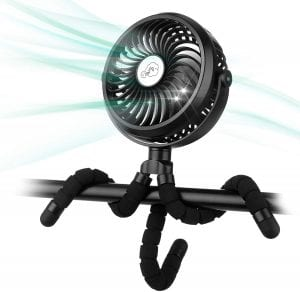 Amacool Battery Operated Stroller Fan Flexible Tripod Clip On Fan with 3 Speeds and Rotatable Handheld Personal Fan