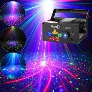SUNY Laser Lights Music Show DJ 128 Combinations Christmas Laser Projector Indoor 5 Lens 3 Color RGB Decoration Light Blue LED Remote Control Stage Lighting Sound