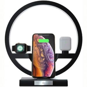 Wireless Charger with Nightlight, 3 in 1 Charging Station Holder for Apple Watch, Airpods, Fast Wireless Charger for iPhone 11:11 Pro:Xs Max:XR:X:8 Plus, Samsung S10 :S9 :S8:S7