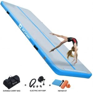 AKSPORT Air Track 10ft 13ft 16ft 20ft Airtrack Gymnastics Tumbling Mat Inflatable Tumble Track with Electric Air Pump