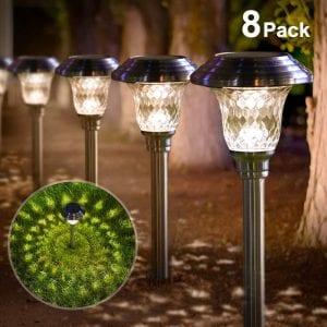 BEAU JARDIN Solar Lights Bright Pathway Outdoor Garden Stake Glass Stainless Steel Waterproof Auto On:off White Wireless Sun Powered Landscape Lighting