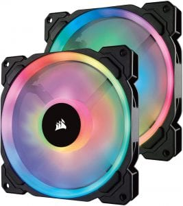 Corsair LL Series LL140 RGB 140mm Dual Light Loop RGB LED PWM Fan 2 Fan Pack with Lighting Node Pro, Model Number- CO-9050074-WW