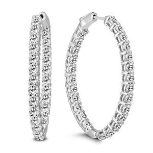 Szul Oval Diamond Hoop Earrings