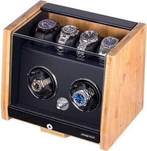 Watch Winder Made of Premium Natural Bamboo Shell for 6 Automatic Watches with High-Gloss Craftsmanship, 4 Setting Modes and Super Quiet Motor