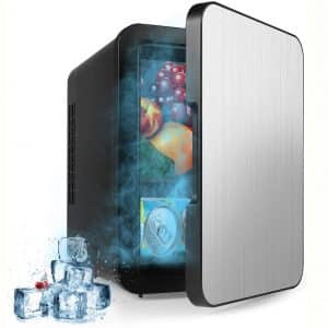 Yeslike Mini Fridge 4 Liter:6 Can Portable AC:DC Powered Thermoelectric System Cooler and Warmer for Cars, Homes, Offices, and Dorms-Black
