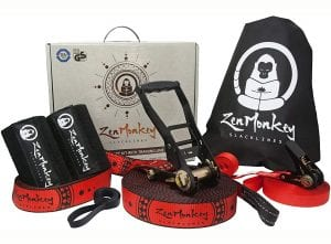 ZenMonkey Slackline Kit with Overhead Training Line, Arm Trainer, Tree Protectors, Cloth Carry Bag and Instructions, 60 Foot - Easy Setup