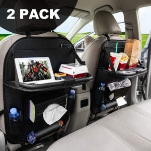 FLY OCEAN Backseat Organizers for Kids (Black 2 Pack)