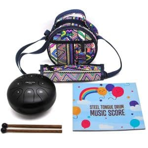 Steel Tongue Drum Steel Drums Flatsons C Key 8 Notes 5.5 Inch Percussion Instrument with Drum Mallets Carry Bag Great Gift for Beginner Adult Kid Black