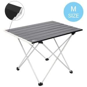 MSSOHKAN Portable and Ultra-light Camping Table with carrying Bag (Black-M)