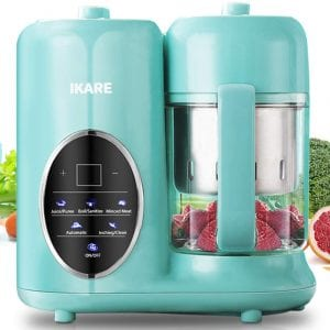 Baby Food Maker- IKARE 8 in 1 Self Clean Baby Food Processor Blender Grinder Steamer with Detachable Water Tank and Steam Basket & Bowl - Touch Control Panel