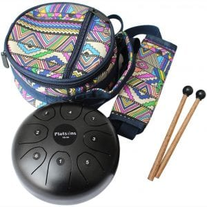 Steel Tongue Drum Steel Drums Flatsons Handpan Standard C Key 8 Notes 5.5 Inch Percussion Instrument with Drum Mallets Carry Bag Great Gift