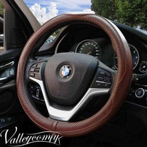 Valleycomfy 15.75-inch Genuine Leather Coffee Steering Wheel Wrap
