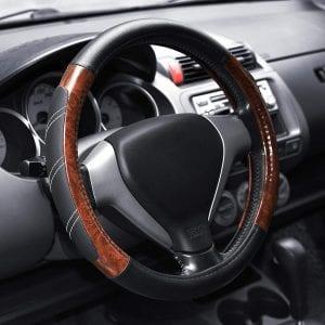 Elantrip Wood Grain Leather Steering Wheel Wrap