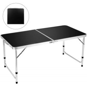 FiveJoy Folding Camping Table with a Portable Handle, Black