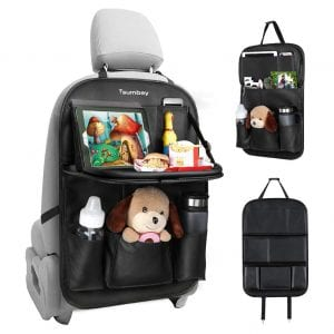 Tsumbay Back Seat Organizer with a Tablet Holder, for Kids (Black)