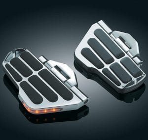 """Kuryakyn 4058 Motorcycle Foot Controls- Ergo II Cruise Mounts with LED Lighted Cruise Boards and 6"""" Arms for Honda Gold Wing, Valkyrie Motorcycles, Chrome, 1 Pair"""