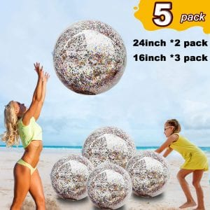 TURNMEON 5 Pack Sequin Beach Ball Jumbo Pool Balls
