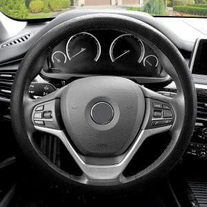 FH Group FH3001BLACK Leather Steering Wheel Wrap