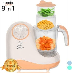 Baby Food Maker Chopper Grinder - Mills and Steamer 8 in 1 Processor for Toddlers - Steam, Blend, Chop, Disinfect, Clean, 20 Oz Tritan Stirring Cup