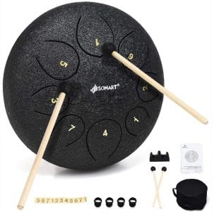 Sonart 10 Inch High Carbon Steel Tongue Drum, 8 Notes Steel Pan Drum w:Drum Hammer, Drumstick Bracket, Rubber Finger Sleeve and Travel Bag