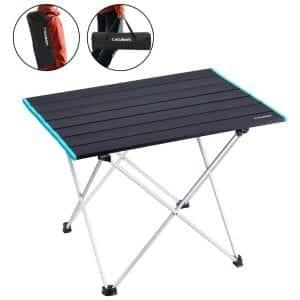 IKURAM Folding Aluminum Camping Table with Storage Bag