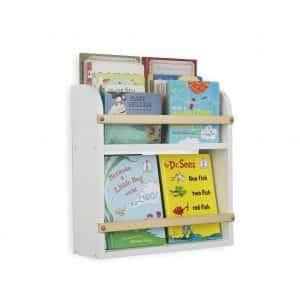 Wallniture Utah Wall Mount Kids Bookcase 2 Tier Shelf White
