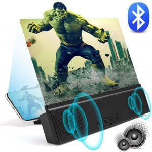 """3D Phone Screen Magnifier with Bluetooth Speakers 12"""" Anti-Blue Light Cell Phone Projector Amplifier with Foldable Holder Stand HD Movies Mobile Phone Screen Enlarger"""