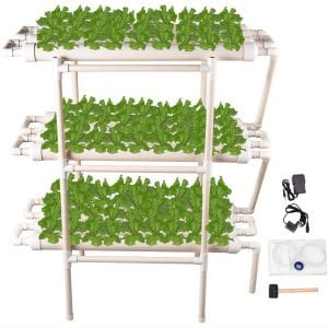 Giraffe-X Hydroponic Grow Kit 108 Plant Sites 12 Pipes 3 Layers Hydroponic Planting Equipment Ebb and Flow Deep Water Culture Balcony Garden System Vegetable Tool Grow Kit