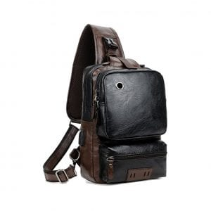 Sdiyabolo PU Leather Large Capacity Men' Sling Bag