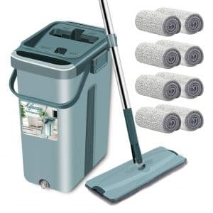 Aifacay Floor Mop with Bucket 8 Reusable Pads