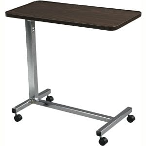 Drive Medical Non Tilt Top Overbed Table, Chrome