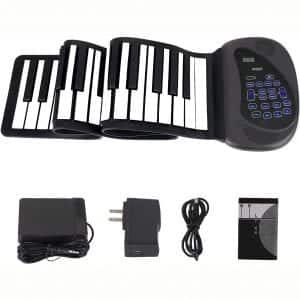Portable Flexible Electronic 61-Key piano - ANDSF [2019 Upgraded Version ] double loudspeaker with Bluetooth microphone music keyboard piano built-in rechargeable battery