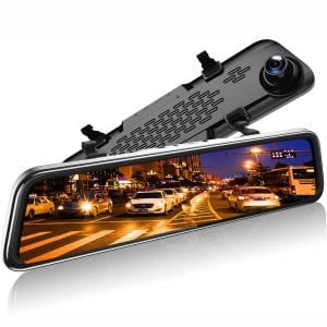 "12"" 1296P Mirror Dash Cam for Cars with GPS:Rear Cam, Full Touch Screen Rear View Mirror Camera, Waterproof Rear Dash Camera, Mirror Camera Enhanced Night Vision"