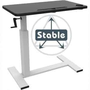Balee Overbed Bedside Table Desk Crank Adjustable Height Laptop Computer Heavy-Duty Desk Multi-Purpose Portable Rolling Cafe Table