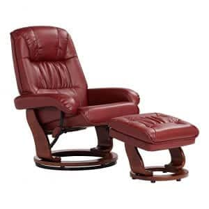 BenchMaster Kyle Leather Ottoman & Swiveling Recliner