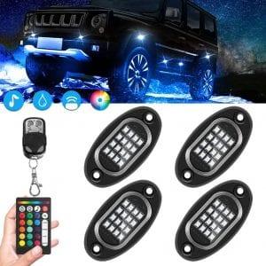 EVERRICH Rock Lights, 16 LED Wheel Lights for Truck,Underglow for Car LED Lights Waterproof