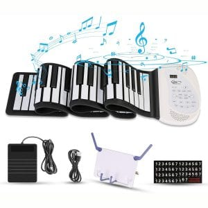 Hricane Roll Up Piano Keyboard, Portable 61 Keys Electronic Keyboard with Pedal and Bluetooth, USB Rechargeable MIDI Built-in Two Speakers