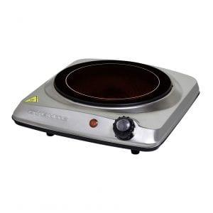 "Ovente 7"" Infrared Single-Burner Cooktop, Silver"
