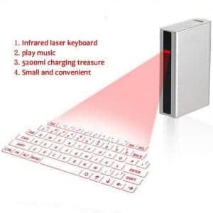 LYJ Laser Virtual Keyboard & Bluetooth Projection Keyboard for Mobile Phone PC Laptop Tablet English Keyboard, Silver Grey